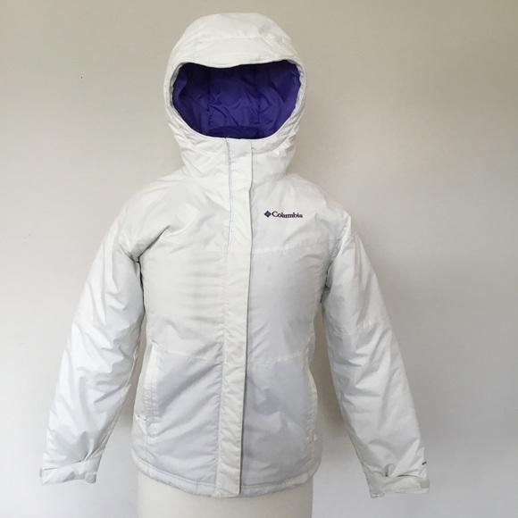 Girls Columbia WhitePurple Sz M10 12 Ski Jacket